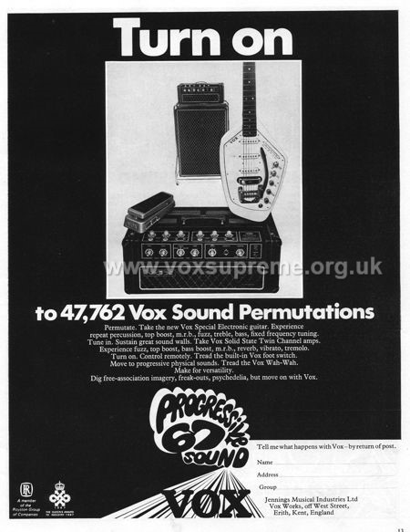 Beat Instrumental magazine, August 1967, advert for Vox Supreme amplifier and Phantom guitar