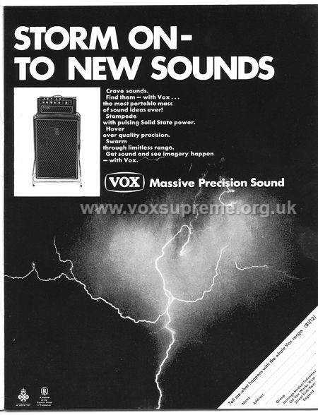 Beat Instrumental magazine, January 1968, advert for the Vox Supreme amplifier