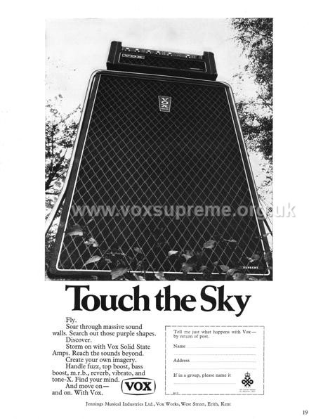 Beat Instrumental magazine, February 1968, advert for the Vox Supreme amplifier