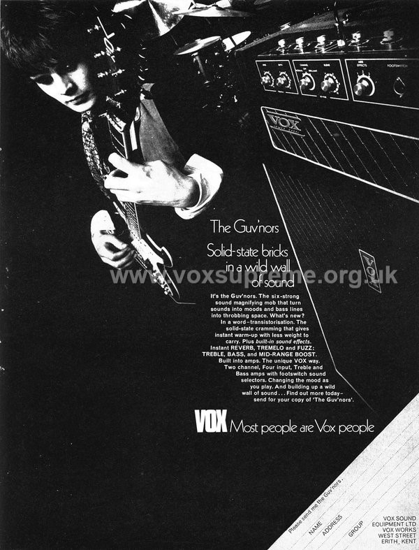 Beat Instrumental magazine, October 1969, advert for the Vox Supreme
