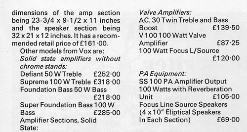 Vox Focus 100 speakers, listed in Beat Instrumental, July 1971