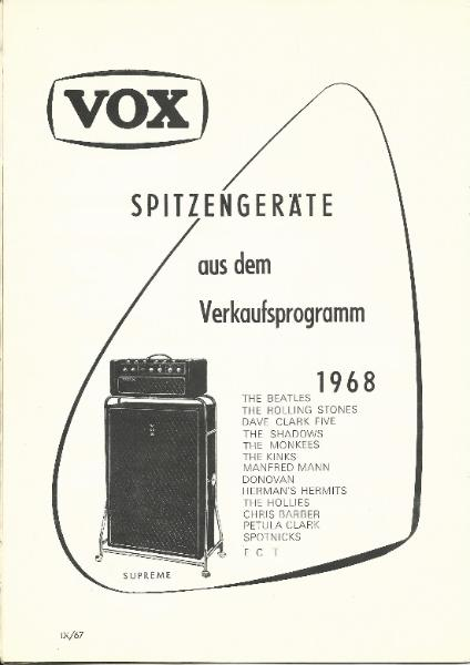 Vox catalogue/brochure printed for the German market in September 1967