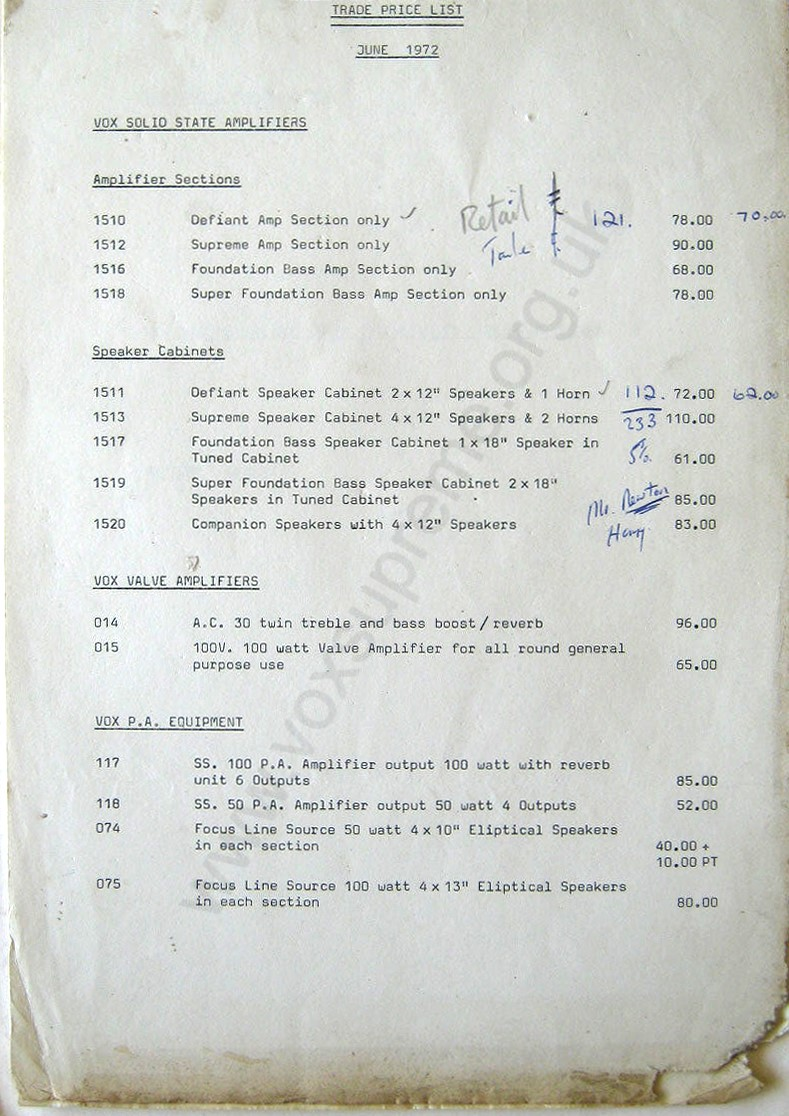 Vox Trade pricelist, June 1972