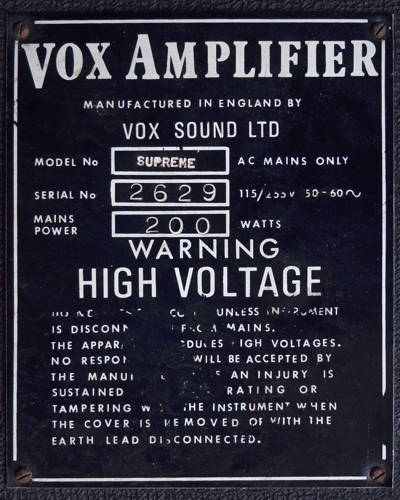 Late Vox Supreme amplifier, serial number 2629
