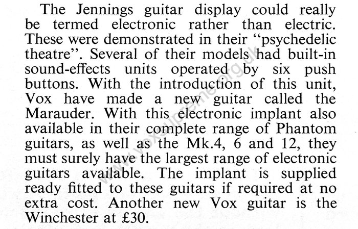 Vox demonstration with Dick Denney and Dave Roberts, Beat Instrumental, October 1967