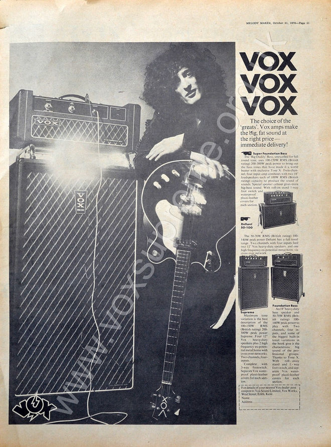 Vox advert for the Super Foundation Bass in Melody Maker, October 1970
