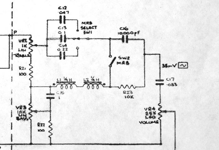 Vox solid state amplifiers, mid range boost circuit