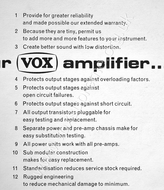 Vox solid state flyer, detail