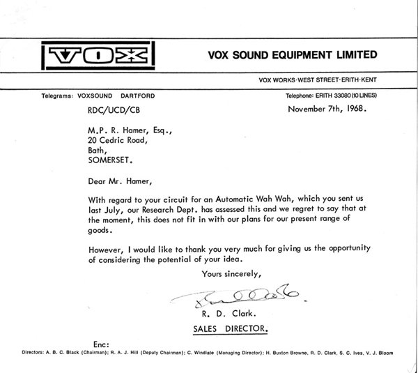 Vox Sound Equipment Ltd, letter, November 1968