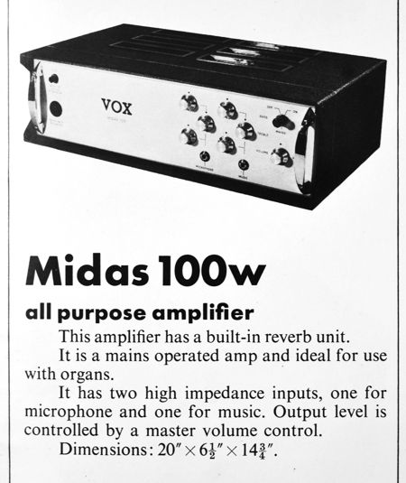 The Vox Midas amplifier in the Vox Sound Ltd catalogue of 1970