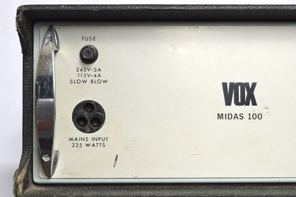 Vox Midas amplifier, serial number 1053, front detail