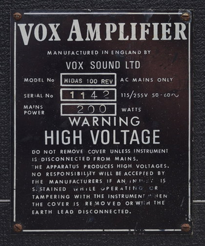Vox Midas amplifier with reverb