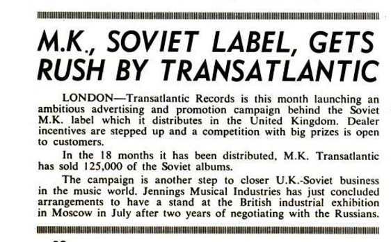Billboard magazine, May 1966, Vox export drive in Russia
