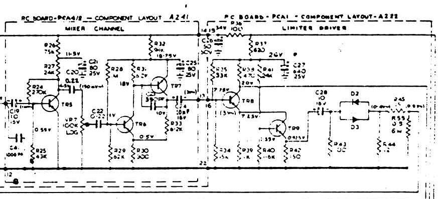 Vox Sound Equipment Ltd schematic for the Vox SS PA50, mixer and limiter boards