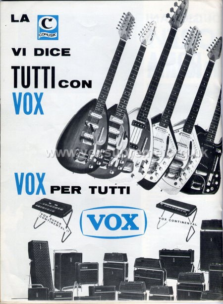 Vox Sound Equipment Limited (Ltd) brochure produced for Comusik, Rome, front cover