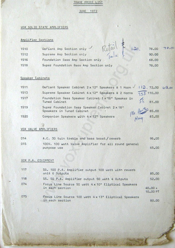 Vox Sound Limited Trade pricelist, June 1972