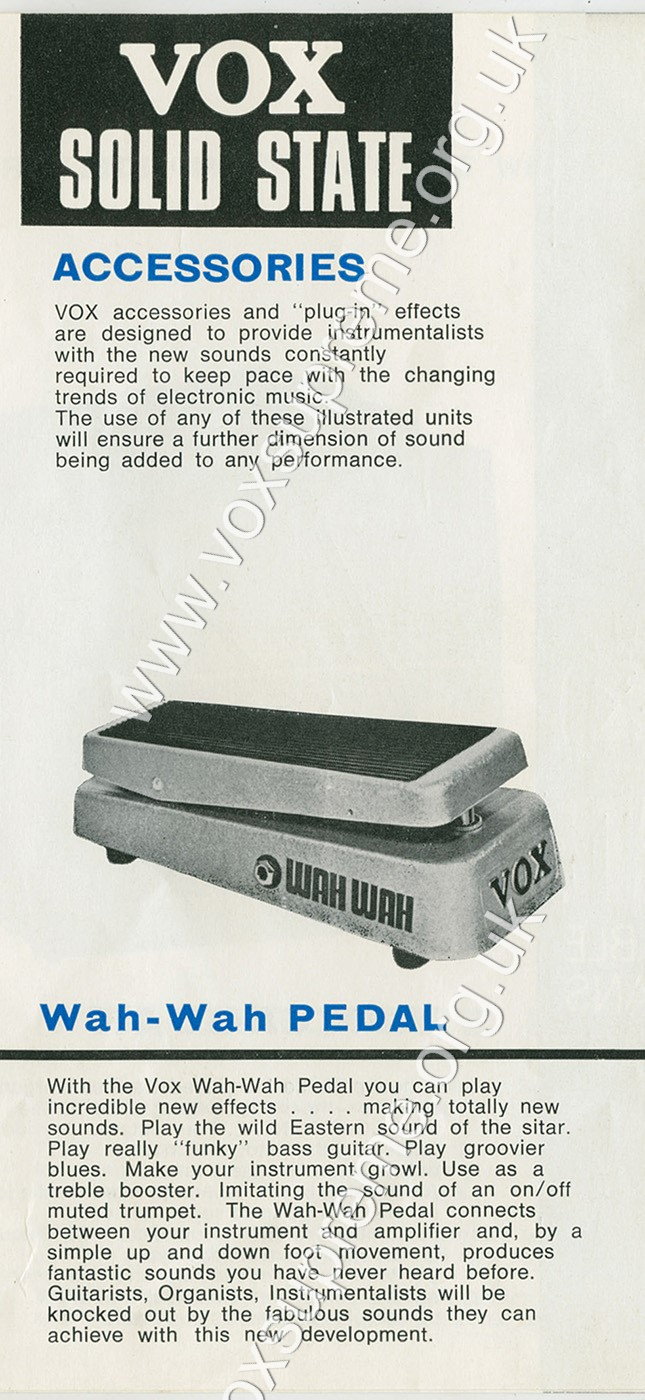 Entry for the Vox wah wah pedal in the Solid State catalogue of Summer 1967