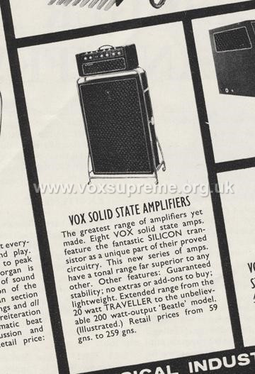 Beat Instrumental magazine, November 1966, advert for the Vox solid state line