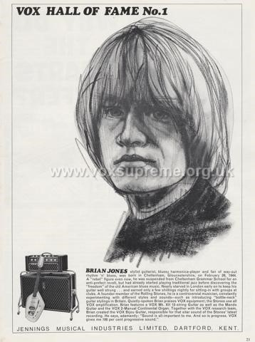 Beat Instrumental magazine, December 1966, advert for the Vox Defiant amplifier with Brian Jones