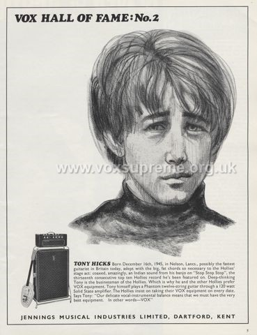 Beat Instrumental magazine, January 1967, advert for the Vox Supreme amplifier with Tony Hicks