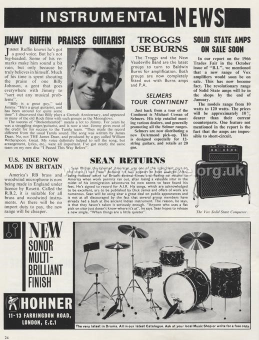 Beat Instrumental magazine, January 1967, notice of the forthcoming Vox Conqueror and solid state line