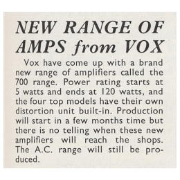 Beat Instrumental magazine, March 1967, Vox 7-series amps