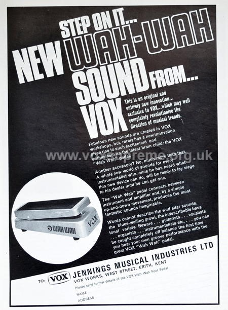 Beat Instrumental magazine, May 1967, advert for the Vox wah wah pedal