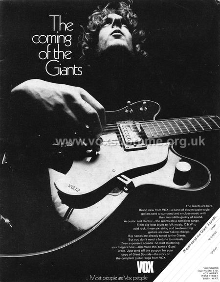 Beat Instrumental magazine, March 1969, advert for a new line of Vox guitars