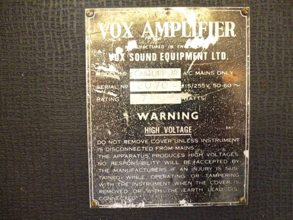 Vox Sound Equipment Limited amplifier serial number plate