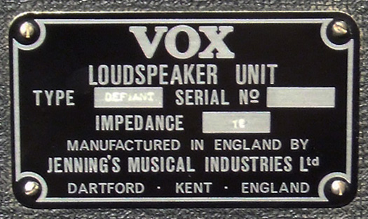 vox defiant speaker cabinet plate
