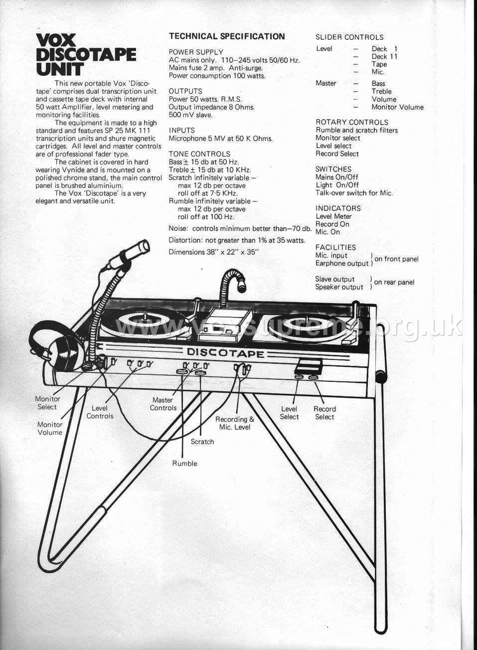 Vox Sound Limited Catalog 1972, the Vox Discotape specifications