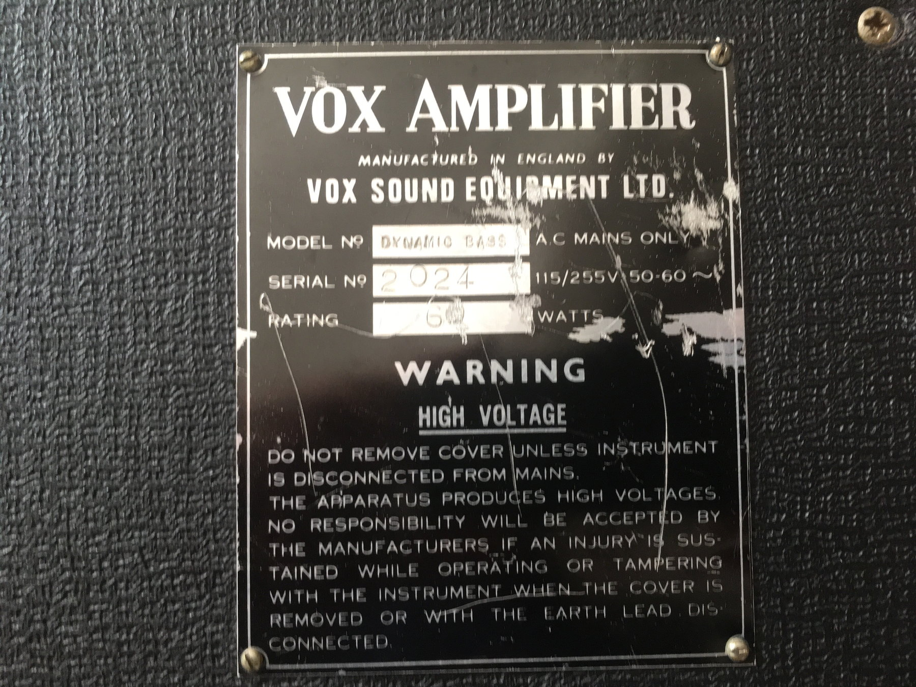Vox Dynamic Bass, serial number 2024, early VSEL