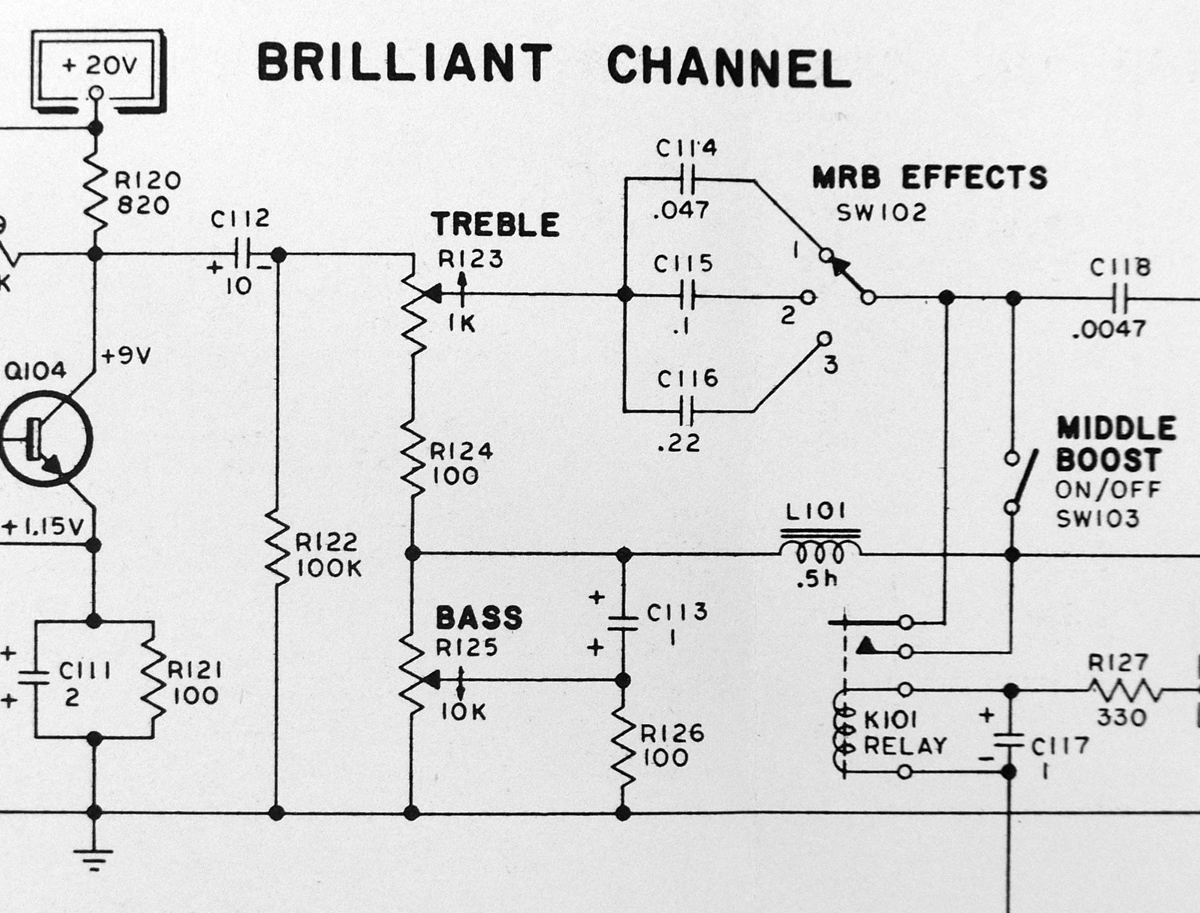 Vox Solid State Effects Amplifier Circuit Transistorized Electronic Circuits Diagram Above Part Of The For Brilliant Channel In Super Beatle Designed 1965 Note Mrb