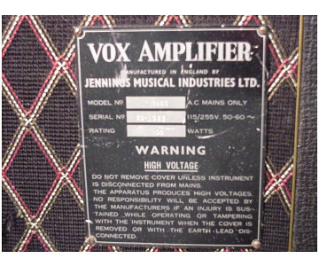 Vox Foundation Bass serial number 1252