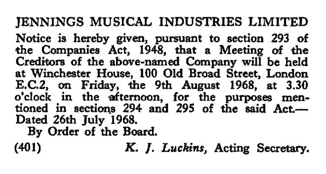 The winding up of Jennings Musical Industries, July 1968