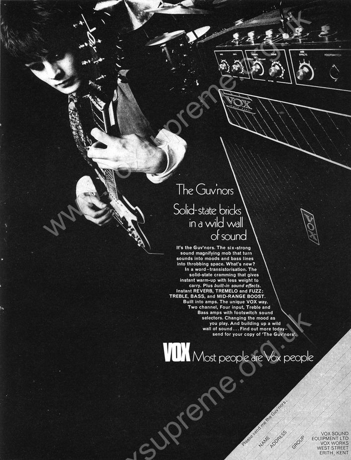 Beat Instrumental magazine, January 1970, Vox advert