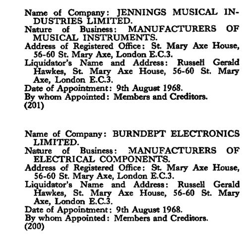 The winding up of Jennings Musical Industries, August 1968