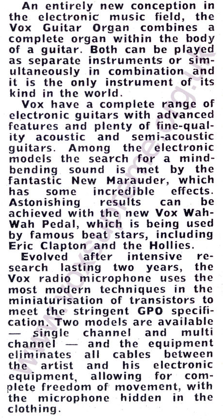 Melody Maker magazine, 19th August 1967, Vox at the AMII Trade Fair