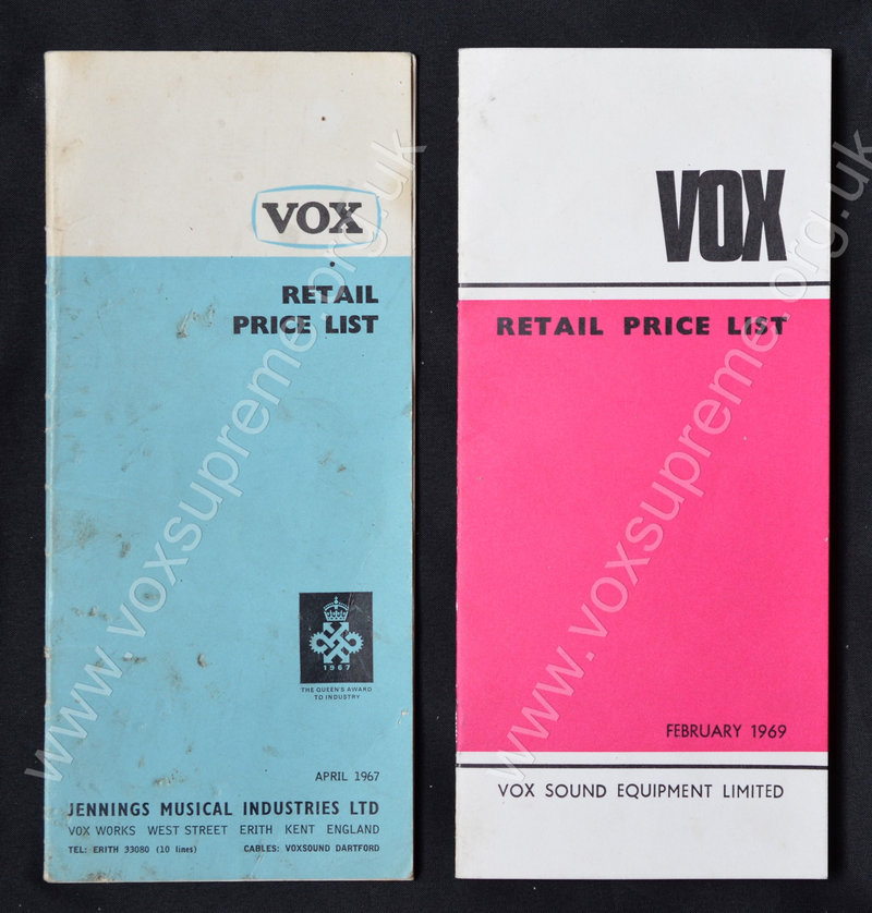 Jennings and Vox Sound Equipment Limited pricelists