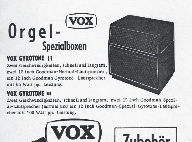Vox catalogue for the German market, 1969, the Gyrotone 2 and 3
