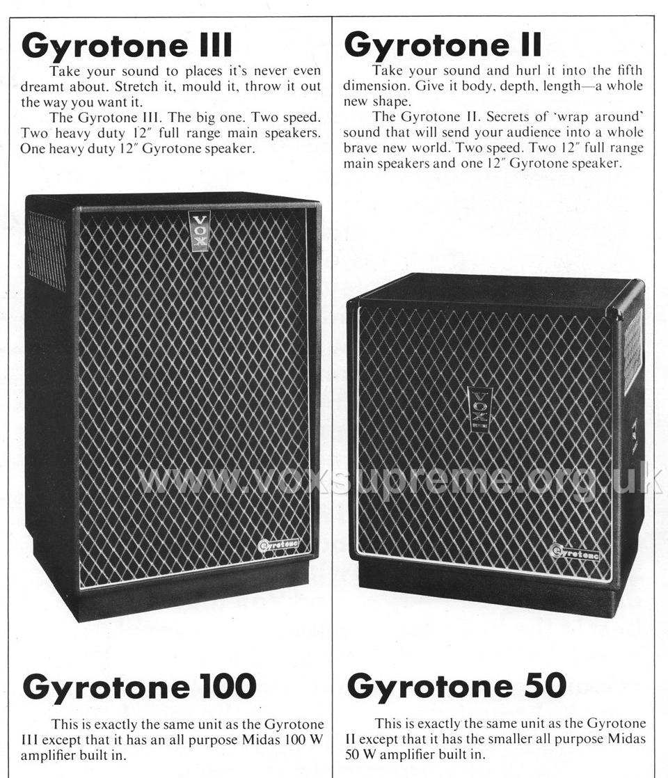 Vox catalogue 1970 - the Gyrotone II and III