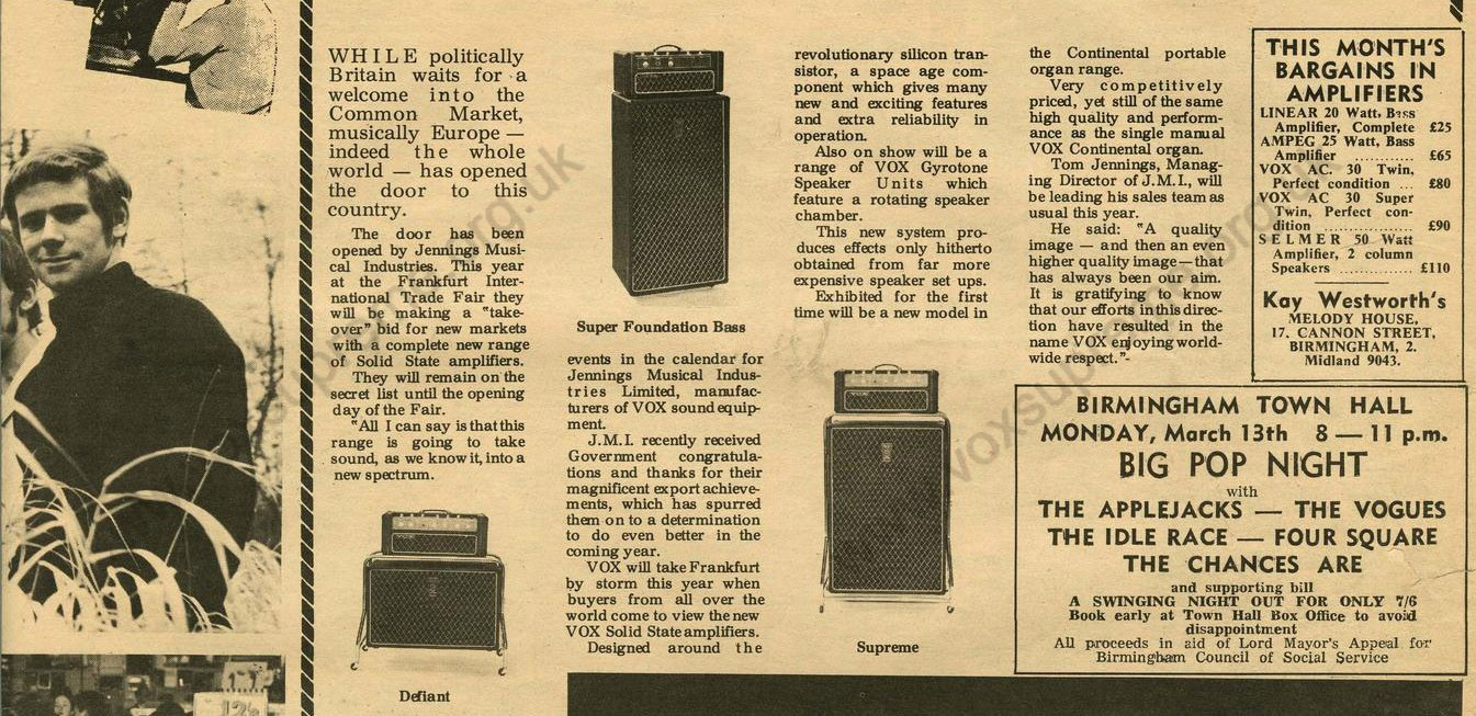 Vox in Midland Beat magazine, April 1967