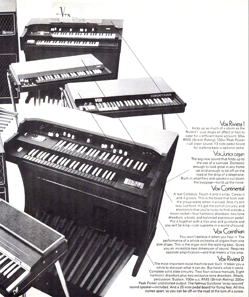 Vox Sound Equipment Limited brochure, February 1969, organs