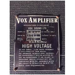 Vox PAR100SS, Vox Sound Limited, serial number plate