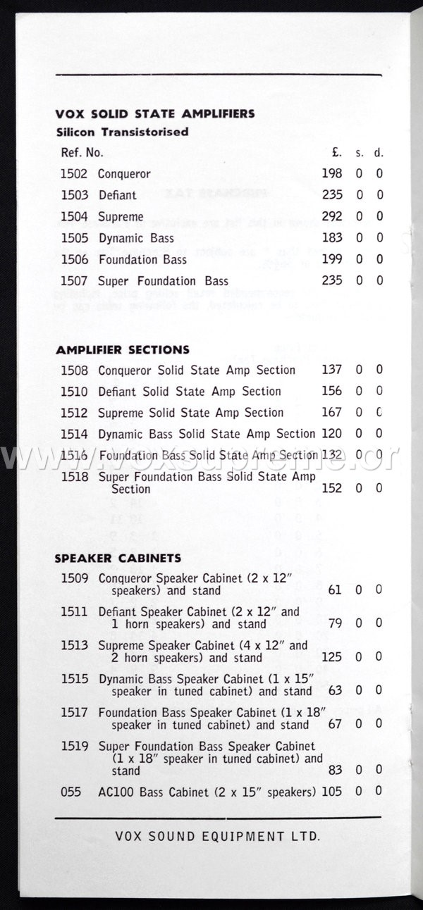 Vox Sound Equipment Limited pricelist, February 1969, page 2