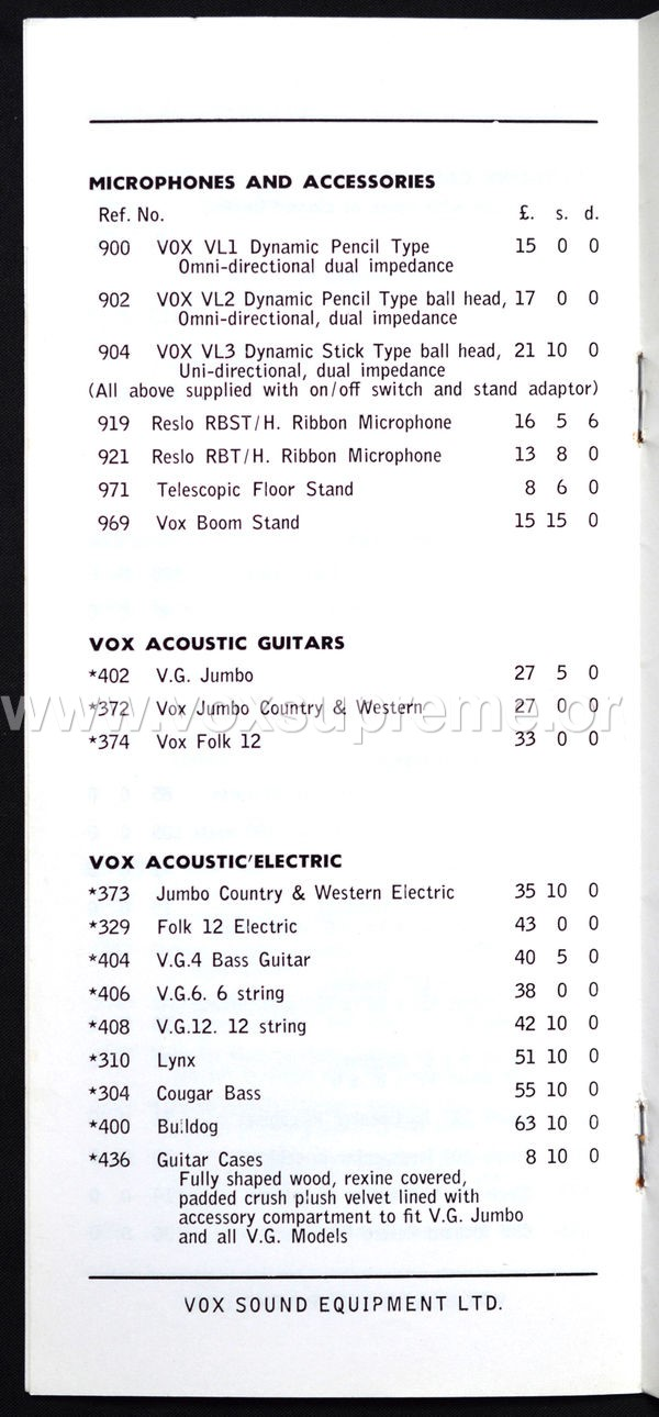 Vox Sound Equipment Limited pricelist, February 1969, page 4