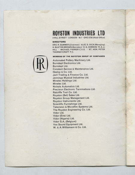 Beacon, Journal of the Royston Group of Companies - list of companies