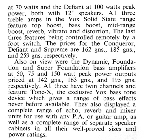 Beat Instrumental, October 1967 - the Vox display at the British Musical Instrument Trade Fair