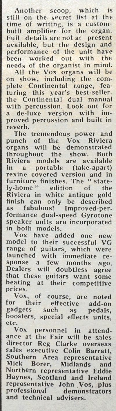 The Vox stand at the Russell Hotel Trade Fair, August 1969