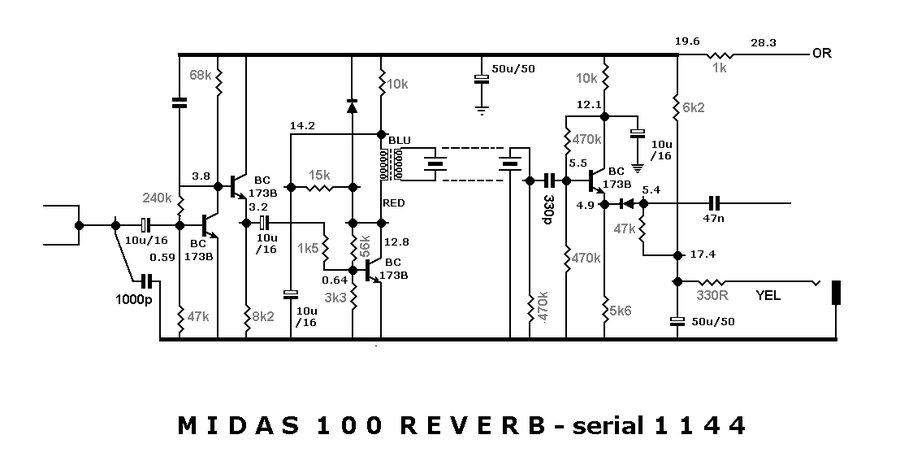 Vox schematic for the Midas 100 amplifier